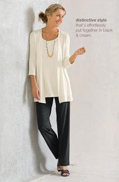 Wearever sheer cardigan, wearever cami, wearever straight-leg pants, cross-strap slides mixed shell beads necklace | www.jjill.com