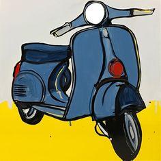 JASPER KNIGHT  Piaggio Study 1960 s  Enamel on Perspex 60cm x 60cm FRAMED
