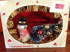 Vintage Shiny Brite Shadow Box / Diorama - Snowman with Tree by Kitschland on Etsy https://www.etsy.com/listing/202653640/vintage-shiny-brite-shadow-box-diorama