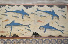 Crete - Heraklion - Knossos - the Dolphin fresco, Queen's Megaron. Image courtesy of Travel Pictures Gallery W2C