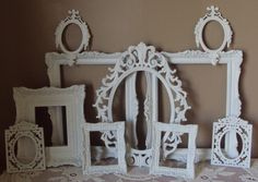 GORGEOUS Picture Frames All True Vintage SET Open Frames Cottage White Wall Gallery 10 Frames Filigree Wedding Romantic Country Home Decor. $145.00, via Etsy.