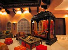traditional indian living room decor with ethnic furniture