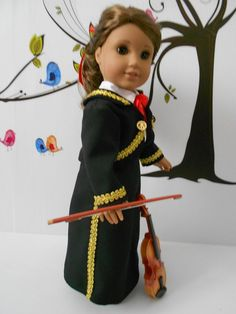 Mariachi charra suit traje black gabardine silver trim for American Girl doll Cinco de Mayo handmade Folklorico Dresses, Mariachi Suit, Quinceanera Party, Doll Patterns, Lace Up Boots, Girl Dolls, Doll Clothes, Dress Up, American Girls