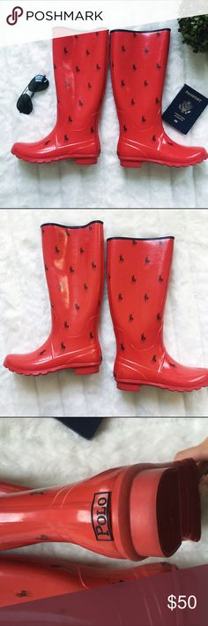 """Ralph Lauren polo rain boots The rainy weather won't matter at all once you slip these on. Adorable red polo rain boots. Size 7. Rubber upper. Cotton lining. Perfect condition. Round closed toe rain boots. 14.5"""" high.   * Fast shipping * Discounts on bundles Polo by Ralph Lauren Shoes Winter & Rain Boots"""