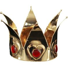 Rubies Adult Mini Queen of Hearts Crown ($30) ❤ liked on Polyvore featuring accessories, hair accessories, jewelry, crowns, hats, halloween and crown hair accessories