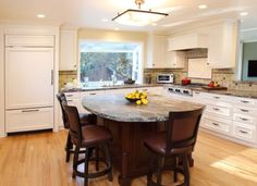 Kitchen Island Round kitchen center island with round table at end | wood kitchen