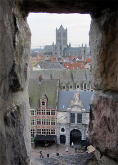 Historic center of Ghent as seen from the Gravensteen castle.