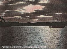 Approach of Storm on Hudson River NY New York - early 1900's