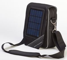 Solar charging shoulder bag.