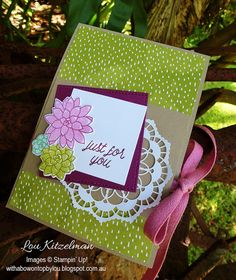 Pop Up Cube card, Oh So Succulent, Stampin' Up! With a bow on top, Kylie Bertucci's International Highlights top 10 blog hop