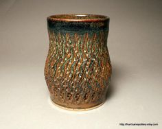 a kitchen utensil holder or tinder container - from HurricanePottery on Etsy - pinned with Pinvolve