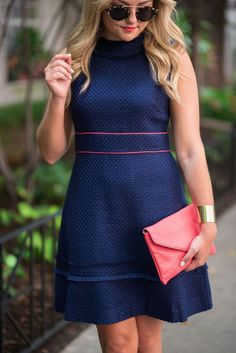 Navy Basketweave Dress