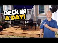 How to Build a Deck in a Day - YouTube Diy Patio, Backyard Patio, Backyard Ideas, Patio Ideas, Outdoor Ideas, Outdoor Decor, Building A Floating Deck, Building A Deck, Ground Level Deck