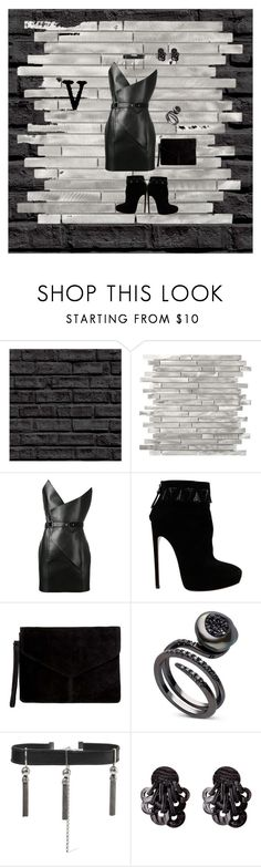 """""""V"""" by bitterfrench on Polyvore featuring Yves Saint Laurent, Alaïa, Miss Selfridge, Sophie Buhai, Leather, vneck and leatherdress"""