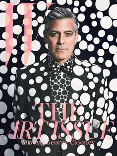 George Clooney for W magazine in collaboration with Yayoi Kusama. Giorgio Armani suit, shirt, and shoes, customized by Yayoi Kusama. Styled by Michael Kucmeroski. Photography by Emma Summerton Yayoi Kusama, Magazine Mode, Cool Magazine, Magazine Art, Issue Magazine, Beauty Magazine, George Clooney, Costume Armani, Mode Camouflage