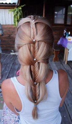 Long Hair with fishtail & design