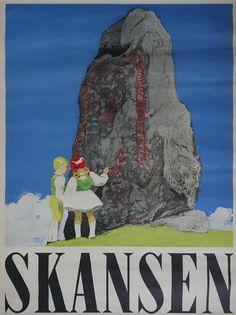 1944 Sweden Skansen Travel Poster Original by OutofCopenhagen