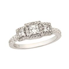 """3 stone setting each framed with pave stones, pave band. 1 ctw. 1/3 ct center stone. I like this style, but my """"past"""" diamond is .35 and I'm hoping for a full ct for the center stone : )"""