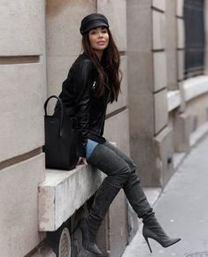 gray over the knee boots with leather jacket