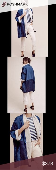 """Anthropologie Oversized Demin Patch Kimono Jacket Anthropologie Atelier Delphine Oversized Demin Patched Swing Kimono Jacket Coat Fabulous Made in USA oversized patched light & dark denim swing  open front lined in ivory with ivory shawl collar * front slit pockets New With Tags  *  Size:  Large retail price:  $398.00  100% cotton  measures: 70"""" around bust 35""""  long  Check out my other items! Be sure to add me to your favorites list! Anthropologie Jackets & Coats"""