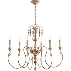 Quorum Salento 6 Light Transitional Chandelier | Wayfair ($326) ❤ liked on Polyvore featuring home, lighting, ceiling lights, island chandelier lighting, quorum lighting, island lighting and island chandeliers