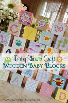 Looking for something besides the same old baby shower games?  Entertain your guests with this fun craft and make some DIY wooden building blocks for baby! | Saving by Design