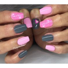 Pink and grey Valentine's Day nails