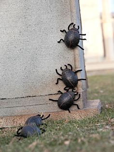 Easy-to-Make Scarab Beetles Scarab Beetles on Tombstone Every high-quality Halloween display requires a few creepy-crawlies. Sculpt a parade of scarab beetles from plastic-foam eggs enhanced with dimensional paint, chenille-stem legs, and antennae bent to simulate motion. Then learn to make a foam crypt to give these beetles a place to crawl