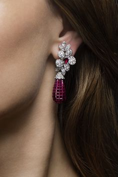 Mystery set ruby and diamond earrings by #VanCleef & Arpels. #ChristiesJewels