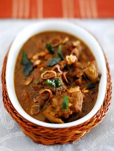 How to make Kerala style mutton curry. A spicy mutton curry recipe made with roasted coconut and spices. A great side dish for rice & roti. Fried Fish Recipes, Lamb Recipes, Veg Recipes, Curry Recipes, Indian Food Recipes, Asian Recipes, Cooking Recipes, Halal Recipes, Chicken Recipes