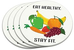 """Custom & Cool {4"""" Inches} Set Pack of 4 Round Circle """"Flat & Smooth Texture"""" Drink Cup Coaster Made of PVC Plastic w/ Cork Bottom & Eat Healthy Stay Fit Design [Colorful Yellow, Green, Orange & Red] mySimple Products"""