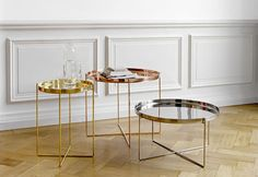 beautiful #copper #bronze & #silver occasional tables for a light coloured space
