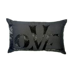 Love Beaded Cushion 30 x 50cm in Black Caviar