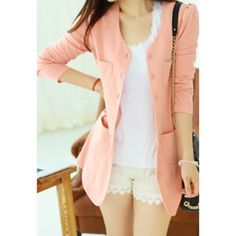 Cheap Wholesale Casual Style Scoop Neck Candy Color Puff Sleeve Cotton Women's Coat (PINK,ONE SIZE) At Price 8.09 - DressLily.com