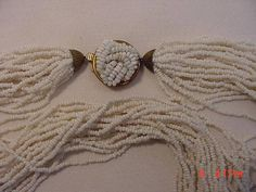 Vintage White Glass Bead 24 Strand Necklace  18  287