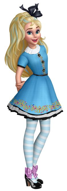 Ally is a character who appears in the Disney Channel animated short series, Descendants: Wicked World. She is the daughter of Alice. Ally bears a strong resemblance to her mother. She has long blond hair with white/light blue highlights, and like her mother, tied in a black hair ribbon. She has light blue eyes and red lips