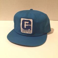 Federated Genetics Blue Farmer Snapback Trucker Baseball Farm Hat | eBay