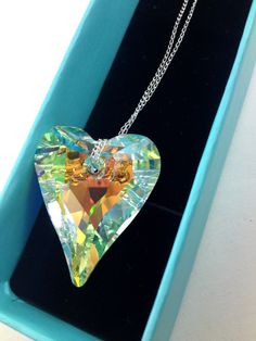 37 mm Swarovski Crystal Heart Pendant With by LittleBoxOfCrystals