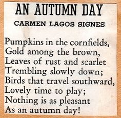 Short Autumn Poems, Short Poems, Poems About Autumn, Fall Poems, Scottish Poems, Nursery Rhymes Lyrics, Autumn Day, Autumn Harvest, Autumn Leaves