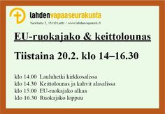 Lahden vapaaseurakunta > Toiminta > Ruokajakelu Language, Languages, Language Arts