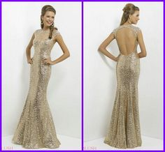 Wholesale cheap cheap evening dresses online, 2014 fall winter - Find best 2014 sexy bling bling champagne sequined mermaid prom dresses sheer crystals beaded crew neck modest cap sleeves backless long formal gowns at discount prices from Chinese prom dresses supplier on DHgate.com.