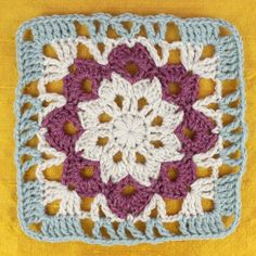 New Crochet Coasters Free Pattern Square Color Combos 45 Ideas Crochet Blocks, Crochet Chart, Crochet Squares, Crochet Motif, Free Crochet, Crochet Patterns, Crocheted Afghans, Crocheted Flowers, Crochet Blankets