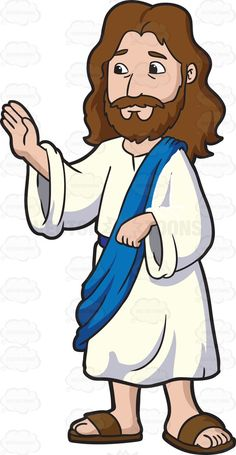 Jesus Christ Concentrates While Blessing The People  Cartoon