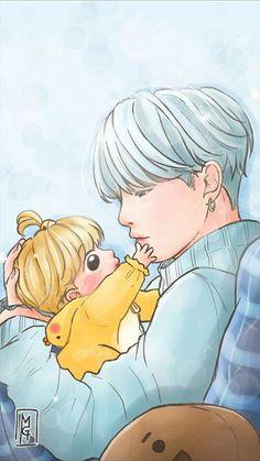 Yoonmin Fanart, Jimin Fanart, Vkook Fanart, V Chibi, Cute Chibi, Bts Anime, Bts Gifs, Bts Drawings, Fan Art