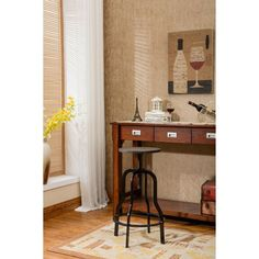 Hodedah Imports Wood Top Adjustable Stool with Metal Frame - HIS9031