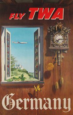 Germany Fly TWA  Item #: TRV-2565  Category: Travel  Artist: William Ward Beecmer  Circa: 1962  Origin: USA  Dim: 25 1/4 x 39 3/4 in.