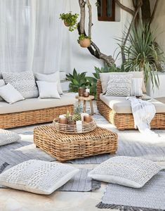 Ideas For Boho Patio Decor Backyards Ikea Outdoor, Outdoor Rooms, Outdoor Decor, Outdoor Balcony Furniture, White Wicker Patio Furniture, Outdoor Living, Sunroom Furniture, Outdoor Couch, Rattan Furniture