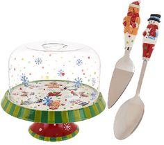 Too cute!! Temp-tations Winter Whimsy Convertible Cake Stand w/ Dome Lid Set for your HOliday Treats on the kitchen counter!