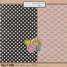 Silly Girl tiny kit freebie from Jenn Barrette #digiscrap #scrapbooking #digifree #scrap #freebie