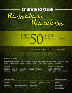 Enjoy 50% OFF on selected items until 11 August 2013 at TRAVELOGUE